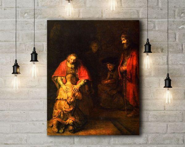 Rembrandt: Return of the Prodigal Son. Fine Art Canvas.